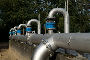 Wastewater Treatment Plant - transfer pipes across the processing facility